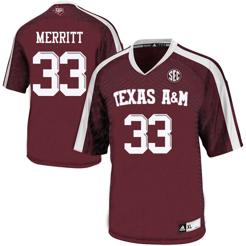 Men #33 Kirk Merritt Texas A&M Aggies College Football Jerseys-Maroon