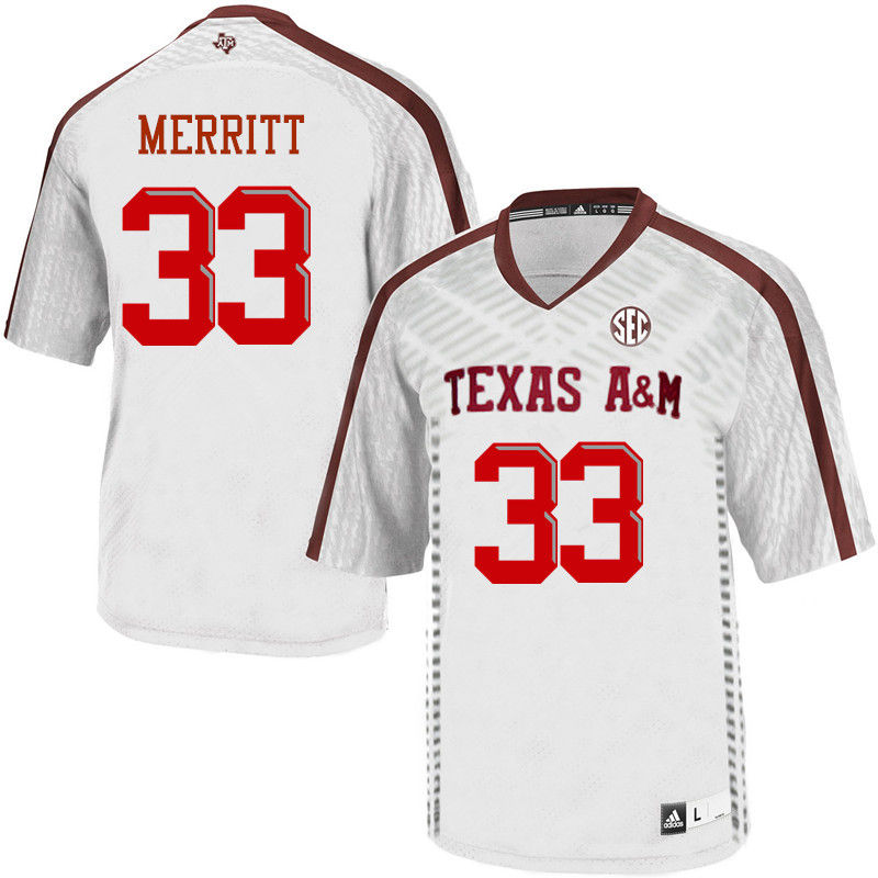 Men #33 Kirk Merritt Texas A&M Aggies College Football Jerseys-White