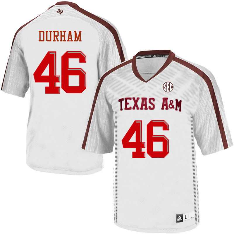 Men #46 Landis Durham Texas A&M Aggies College Football Jerseys-White