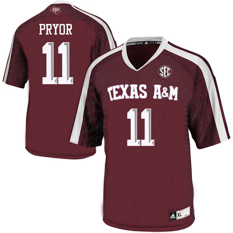 Men #11 Larry Pryor Texas A&M Aggies College Football Jerseys-Maroon