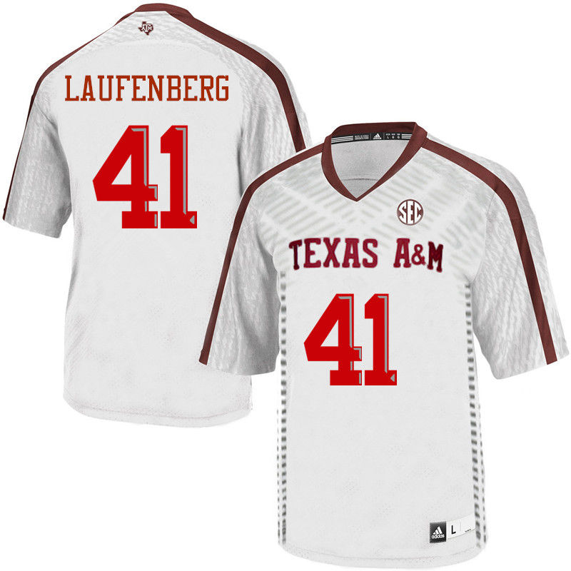 Men #41 Luke Laufenberg Texas A&M Aggies College Football Jerseys-White