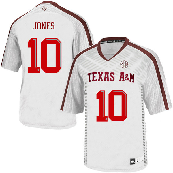 Men #10 Myles Jones Texas A&M Aggies College Football Jerseys Sale-White
