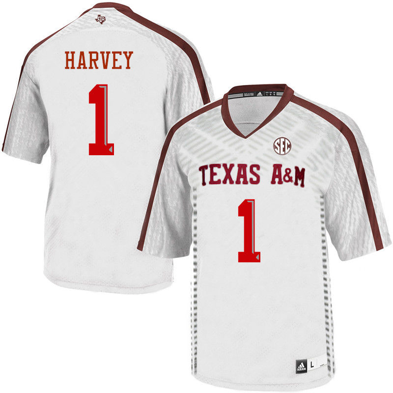 Men #1 Nick Harvey Texas A&M Aggies College Football Jerseys-White