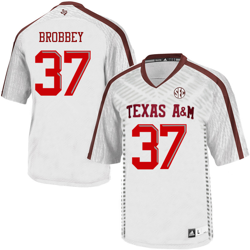 Men #37 Nigel Brobbey Texas A&M Aggies College Football Jerseys Sale-White