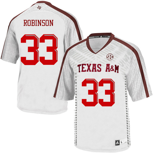 Men #33 Ondario Robinson Texas A&M Aggies College Football Jerseys Sale-White