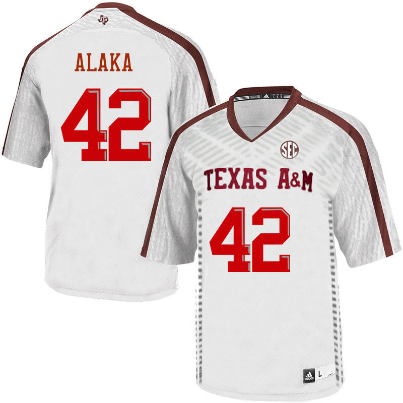 Men #42 Otara Alaka Texas A&M Aggies College Football Jerseys-White