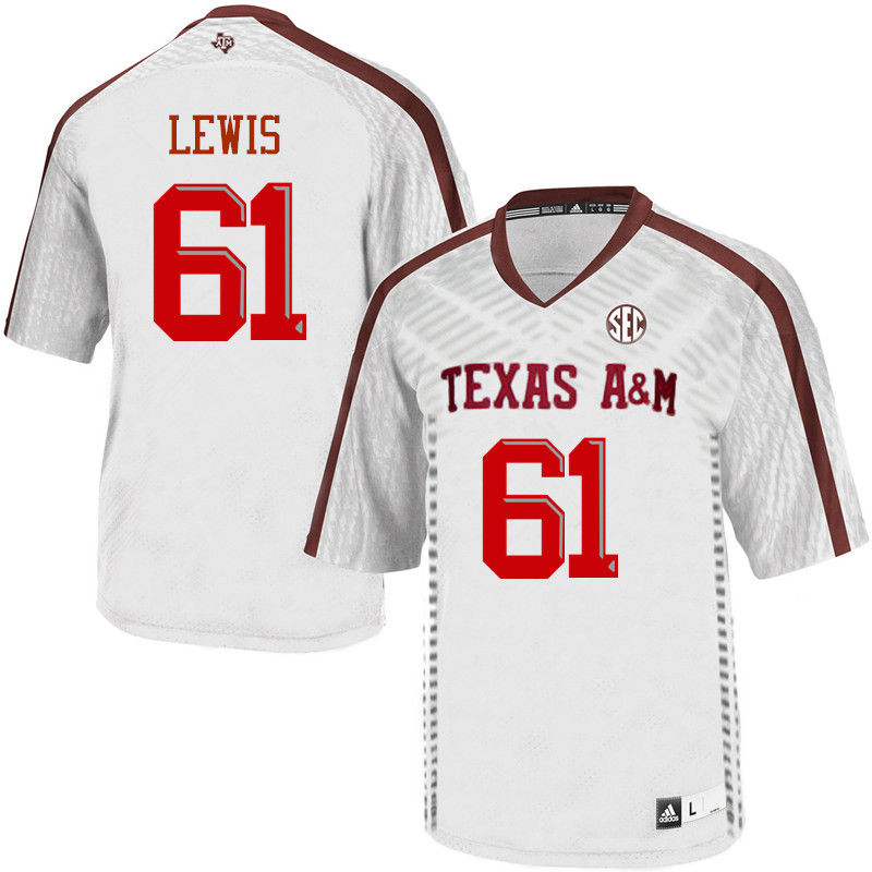 Men #61 Patrick Lewis Texas A&M Aggies College Football Jerseys-White