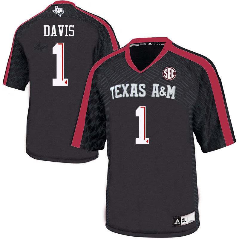 Men #1 Quartney Davis Texas A&M Aggies College Football Jerseys-Black