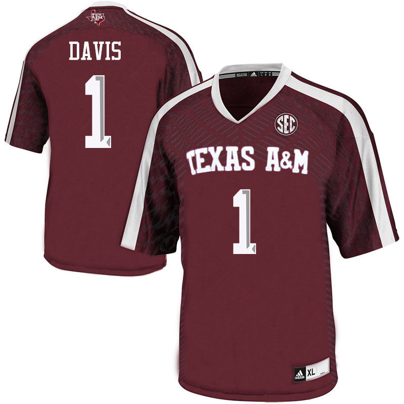 Men #1 Quartney Davis Texas A&M Aggies College Football Jerseys-Maroon