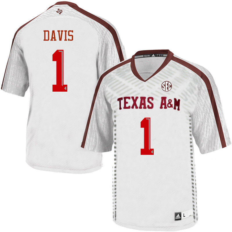 Men #1 Quartney Davis Texas A&M Aggies College Football Jerseys-White