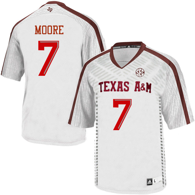 Men #7 Richard Moore Texas A&M Aggies College Football Jerseys-White