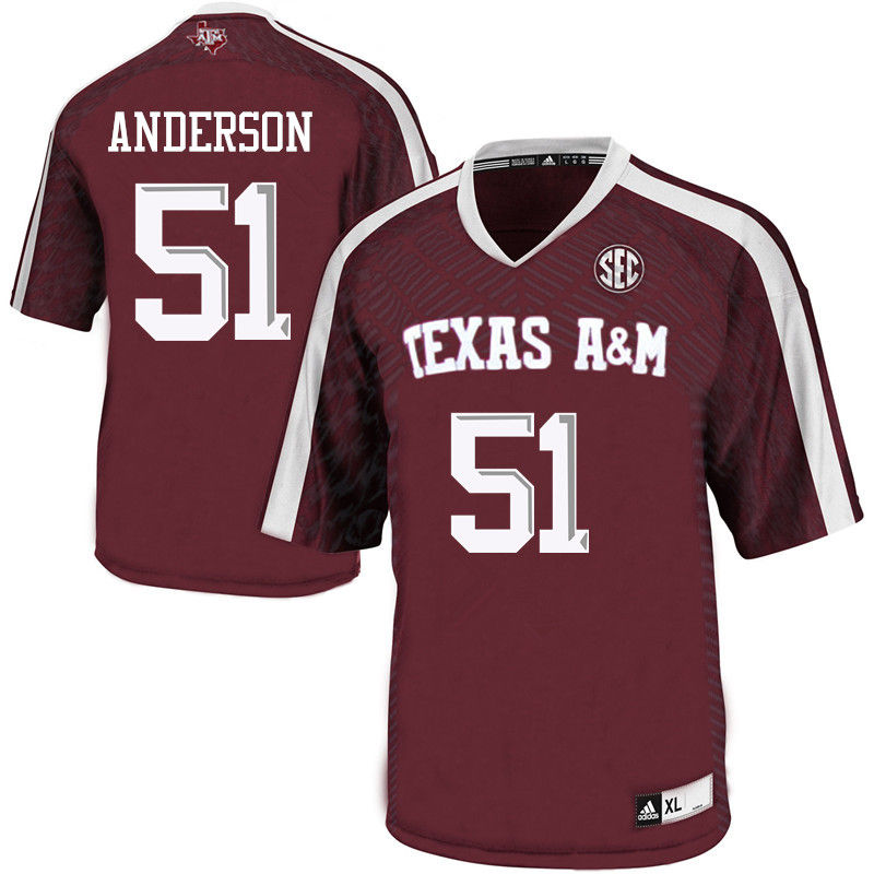 Men #51 Riley Anderson Texas A&M Aggies College Football Jerseys-Maroon