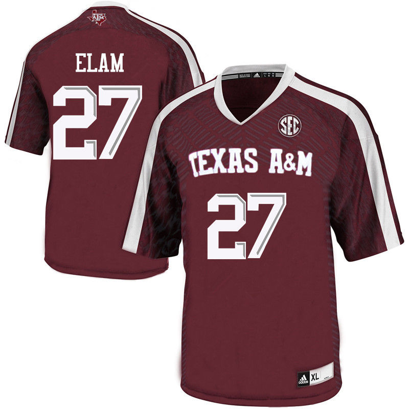 Men #27 Roney Elam Texas A&M Aggies College Football Jerseys-Maroon