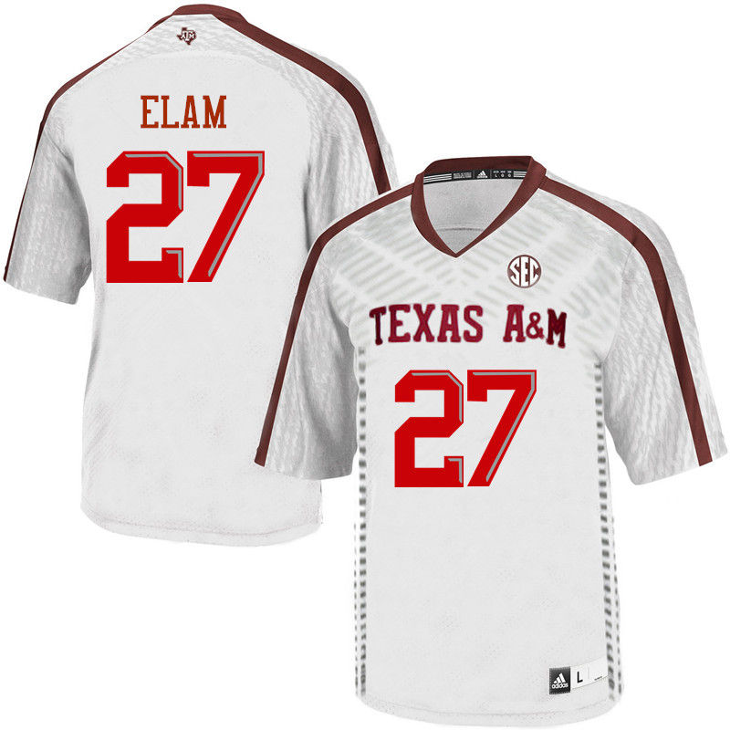 Men #27 Roney Elam Texas A&M Aggies College Football Jerseys-White
