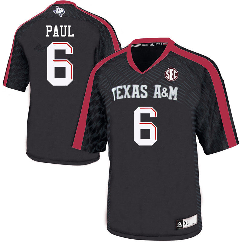Men #6 Roshauud Paul Texas A&M Aggies College Football Jerseys-Black