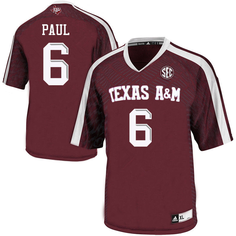 Men #6 Roshauud Paul Texas A&M Aggies College Football Jerseys-Maroon