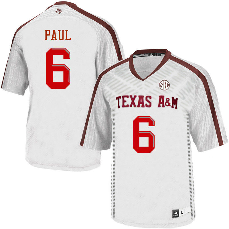 Men #6 Roshauud Paul Texas A&M Aggies College Football Jerseys-White