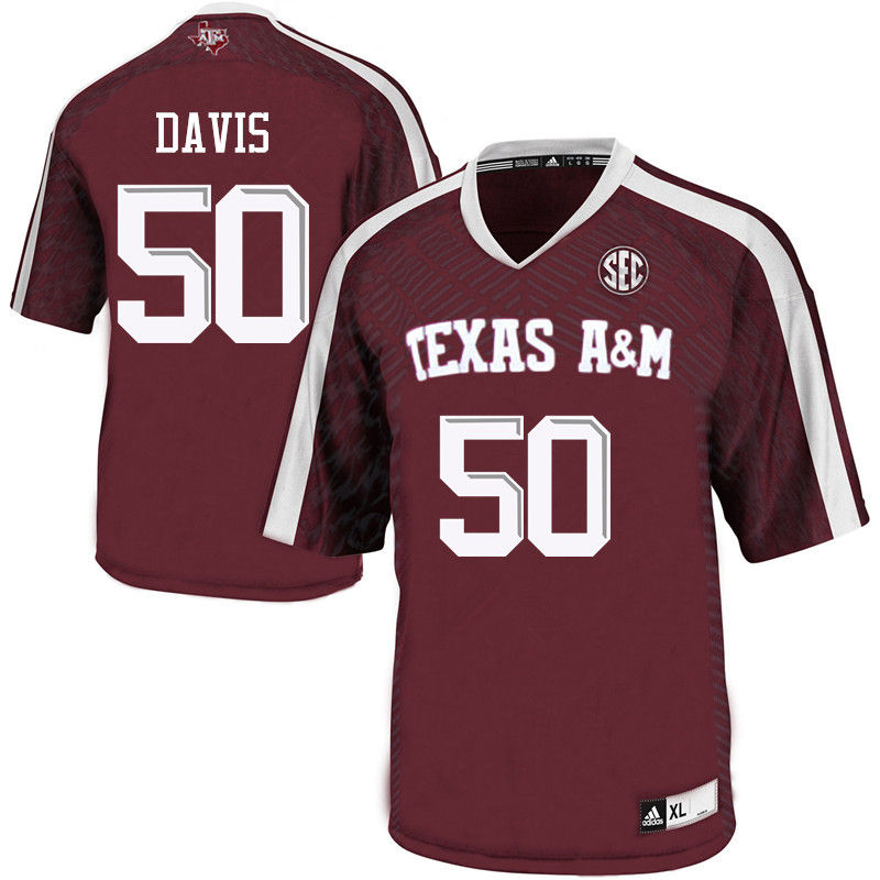 Men #50 Tank Davis Texas A&M Aggies College Football Jerseys-Maroon