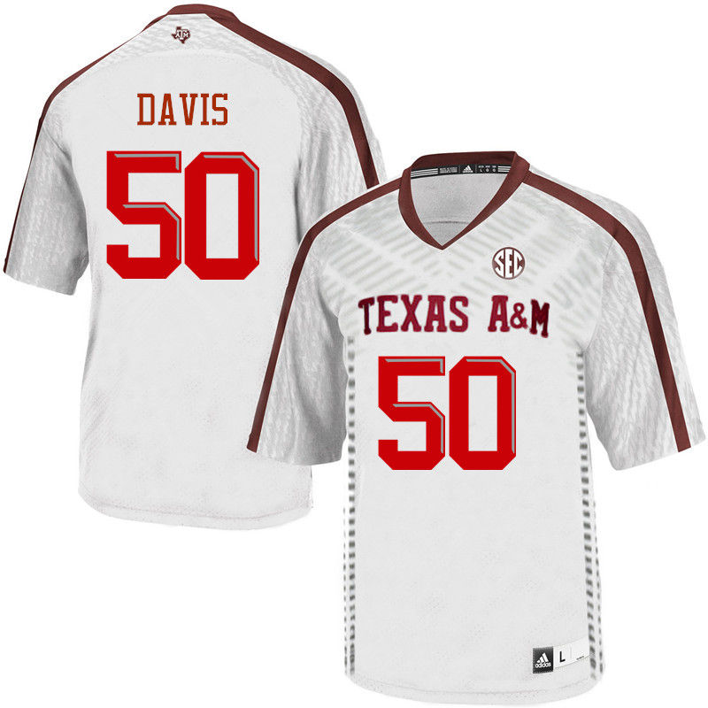 Men #50 Tank Davis Texas A&M Aggies College Football Jerseys-White
