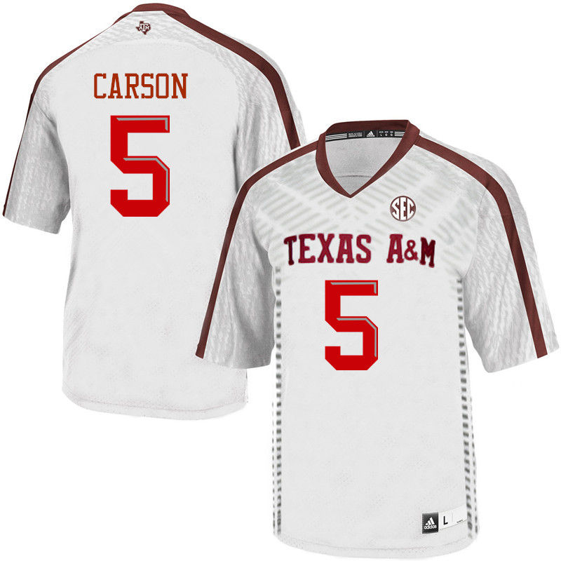 Men #5 Tra Carson Texas A&M Aggies College Football Jerseys-White