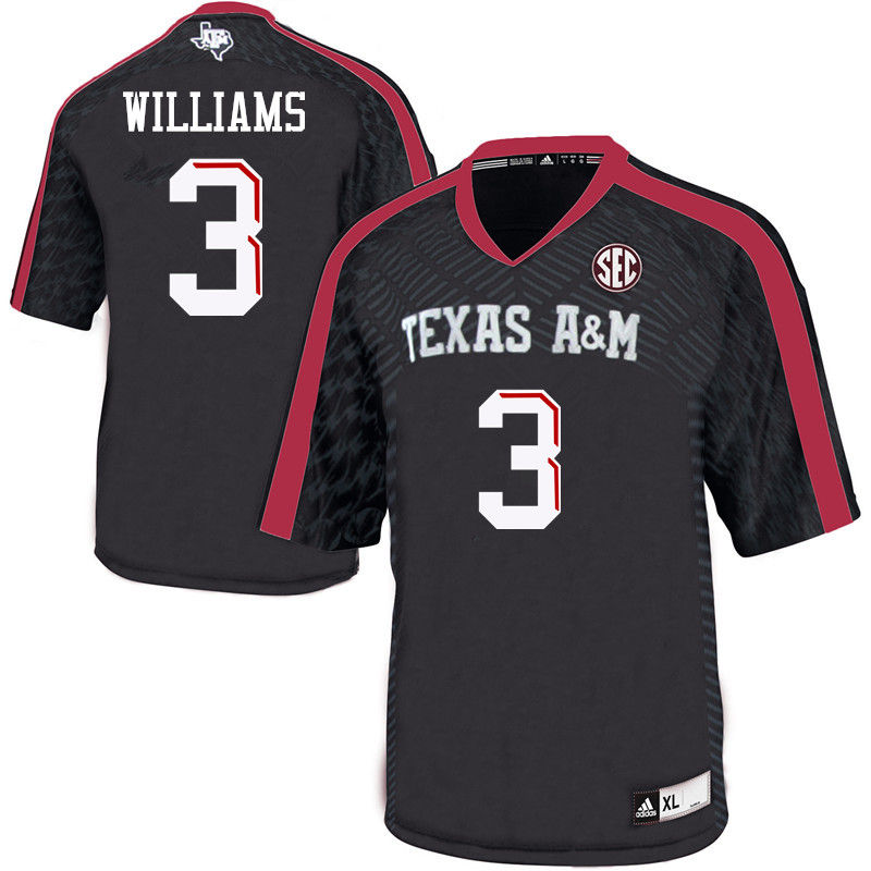 Men #3 Trey Williams Texas A&M Aggies College Football Jerseys-Black