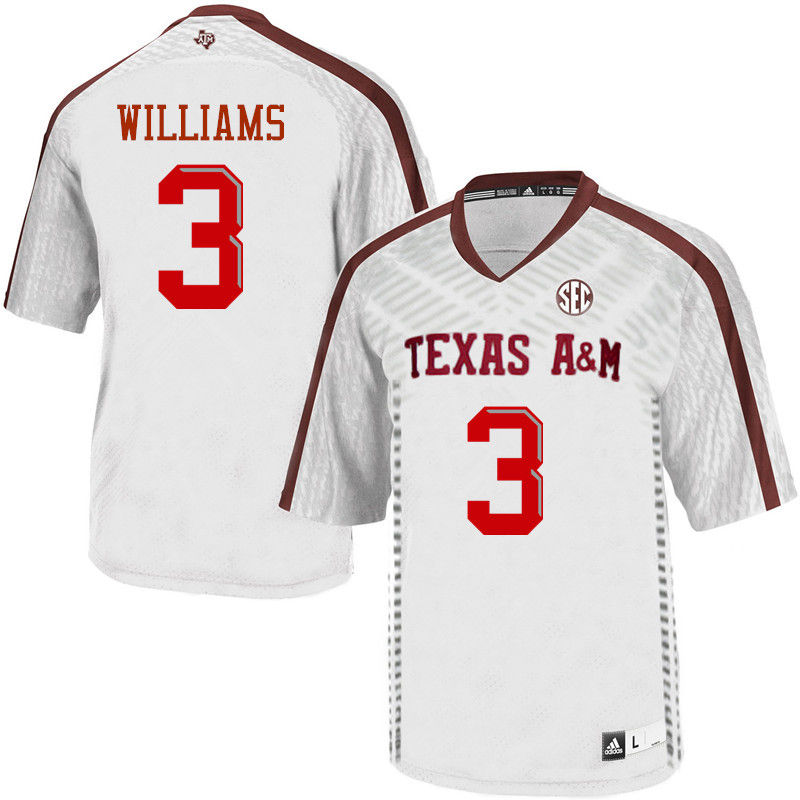 Men #3 Trey Williams Texas A&M Aggies College Football Jerseys-White