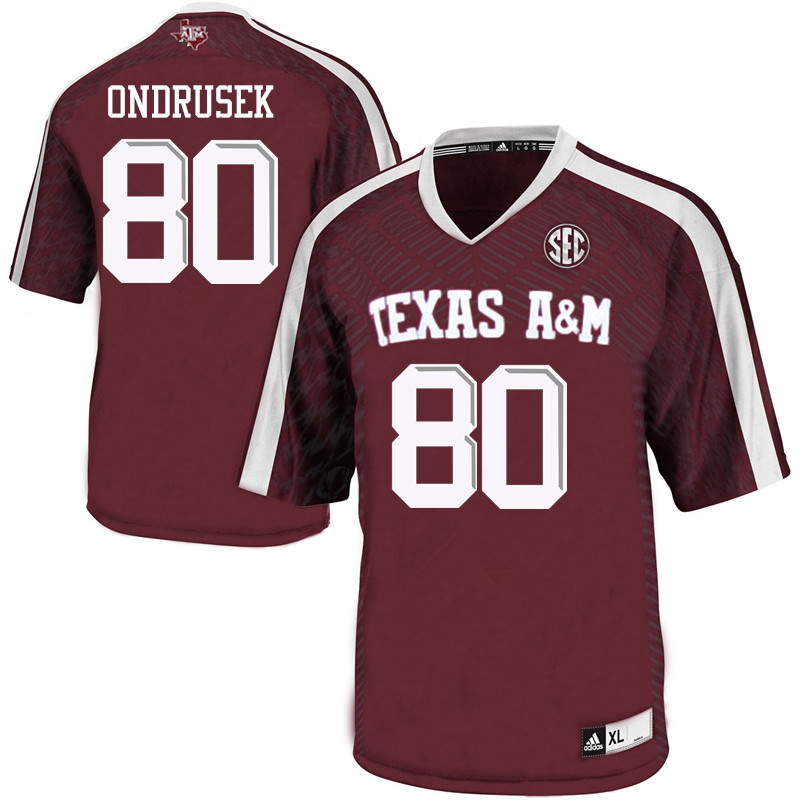 Men #80 Tyler Ondrusek Texas A&M Aggies College Football Jerseys Sale-Maroon