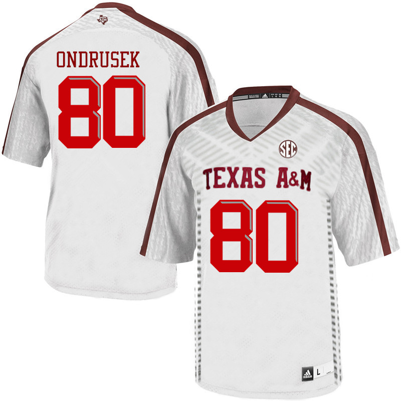 Men #80 Tyler Ondrusek Texas A&M Aggies College Football Jerseys Sale-White