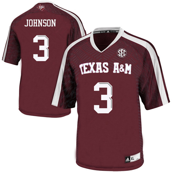Men #3 Tyree Johnson Texas A&M Aggies College Football Jerseys Sale-Maroon