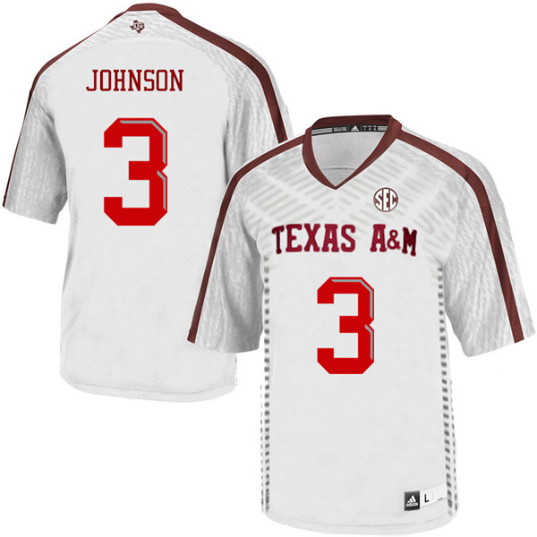 Men #3 Tyree Johnson Texas A&M Aggies College Football Jerseys Sale-White
