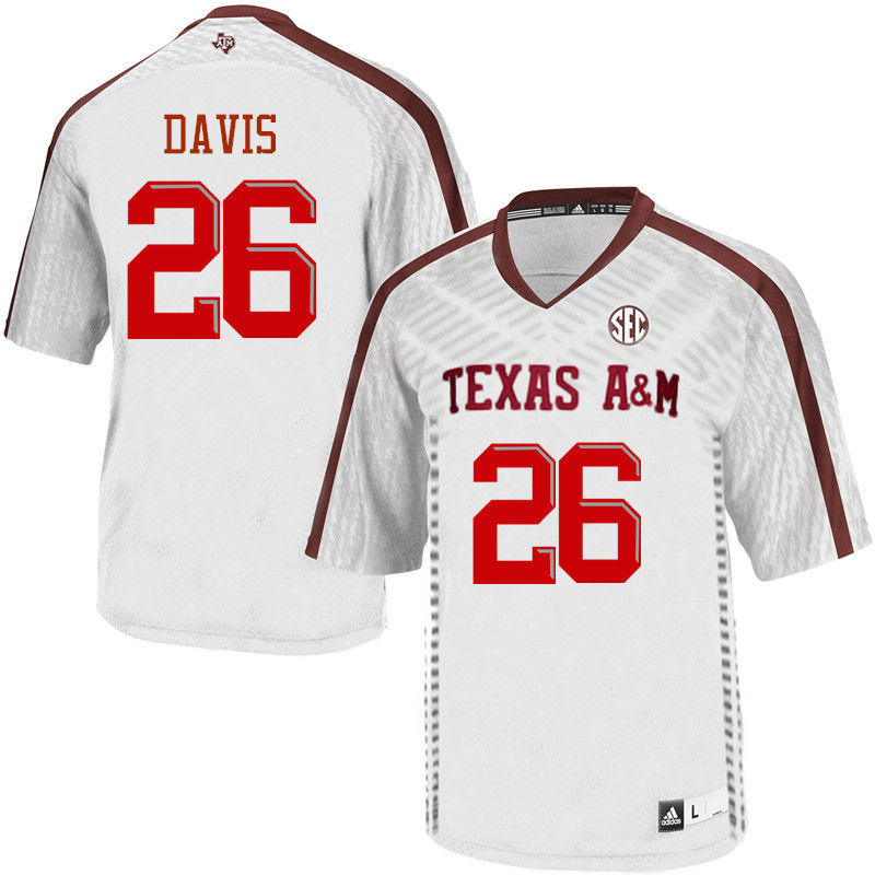 Men #26 Victor Davis Texas A&M Aggies College Football Jerseys-White