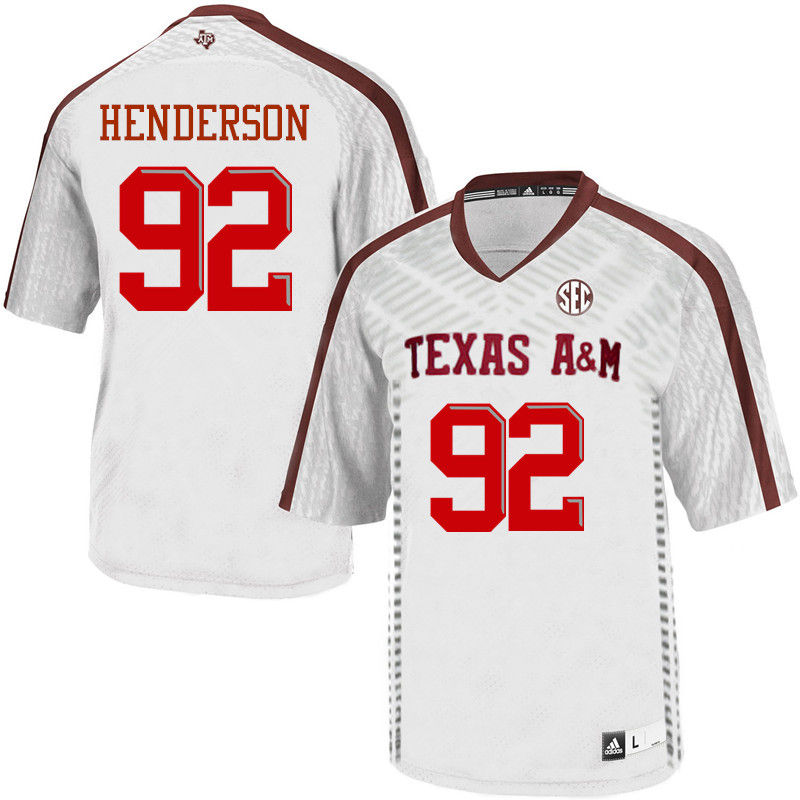 Men #92 Zaycoven Henderson Texas A&M Aggies College Football Jerseys-White